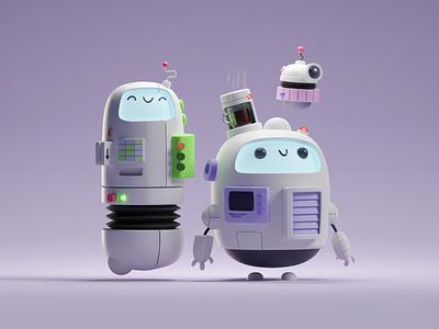 Scribbly Robot Frands (3D version) doodle cycles render b3d 3d illustration cute chibbi robot blender
