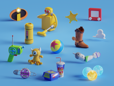 Pixar Items up inside out incredibles monsters inc toy story pixar render icons isometric b3d blender