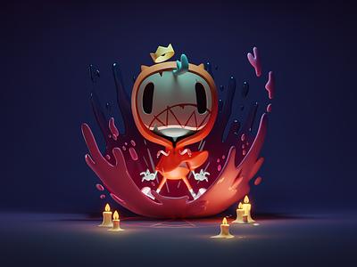 Little Possessed Dude (Dark Version) cute lighting halloween doodle possessed render 3d illustration b3d blender