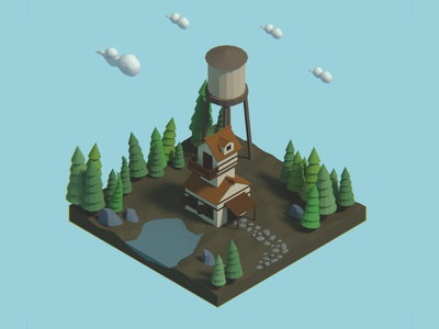Cabin in the woods (Low poly) cartoonish modeling 3d cabin woods blender low poly