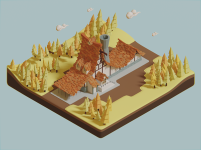Low poly farm (isometric) farm forest cartoonish modeling 3d house woods blender low poly