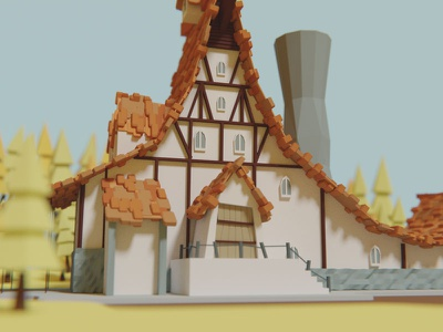 Low poly farm  forest cartoonish modeling 3d house perspective farm woods blender low poly
