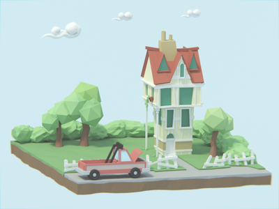 Low Poly House lowpoly modeling 3d cartoonish isometric pickup truck house blender low poly