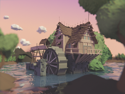 Low poly swamp cartoon sunset cabin lowpoly cartoonish modeling 3d swamp woods blender low poly