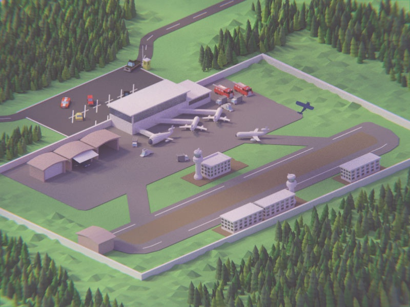 Low poly airport  colorful model isometric modeling trees compositing 3d lowpoly project blender airport