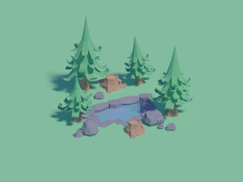 Paper forest assets illustration lowpoly assets game forest isometric blender low poly