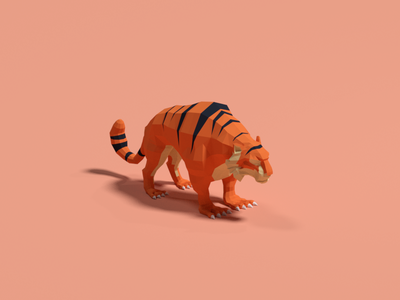Low poly tiger game asset lowpoly cartoonish modeling 3d animal tiger blender low poly