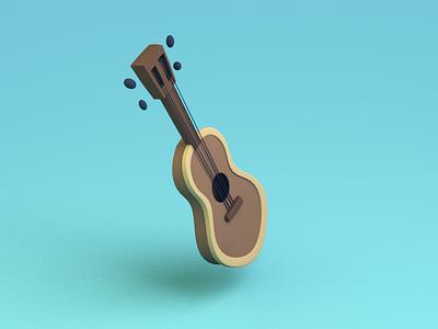 Guitar random cartoonish guitar model 3d 3d modeling blender isometric low poly