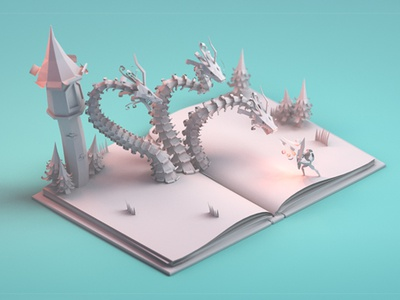 Paper story knight paper story story lowpoly dragon paper model 3d 3d modeling blender isometric low poly