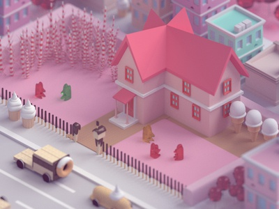 Candy city 2 oreo twinkie sweets candy candycity model 3d 3d modeling blender isometric low poly