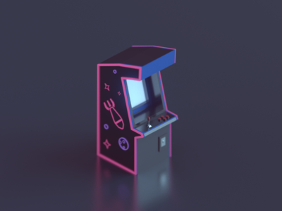Tiny arcade machine retro game machine arcade model 3d 3d modeling blender isometric low poly