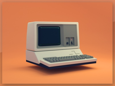 Apple 3 computer hardware vintage retro modeling quick render blender b3d model apple apple 3