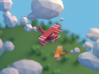Low poly airplane scene