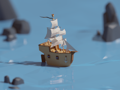 30 Days of Poly Day #5 ocean sea pirates ship days of poly b3d blender render isometric low poly
