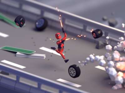 30 Days of Poly Day #8 maximum effort marvel pool deadpool days of poly b3d blender render isometric low poly