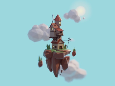 Floating house sky flying floating island house days of poly b3d blender render isometric low poly