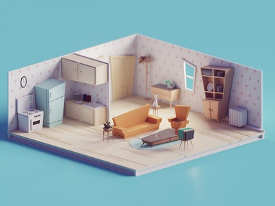 60s/70s Low poly living room