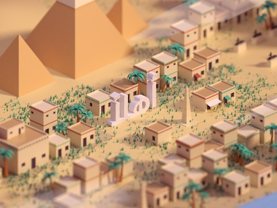 Hello Egypt pyramids city ancient hello world pharaohs egypt hello b3d blender render isometric low poly