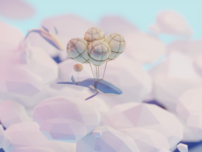 Flying whales balloons clouds flying sky whales b3d blender render isometric low poly