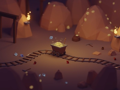 Heigh ho! Heigh ho! it's off to work we go!! gold mine snow white dwarves fantasy b3d blender render isometric low poly