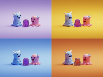 Color study study color gummy baby cute monster b3d blender render isometric low poly