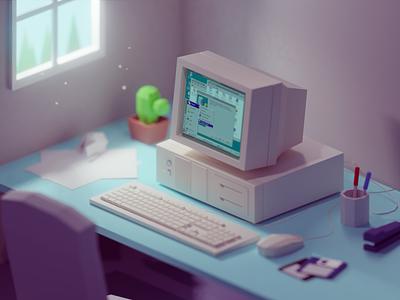 90s work desk retro vintage old office windows95 desk 90s b3d blender isometric low poly