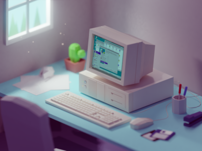90s work desk retro vintage old office windows95 desk 90s b3d blender isometric low poly