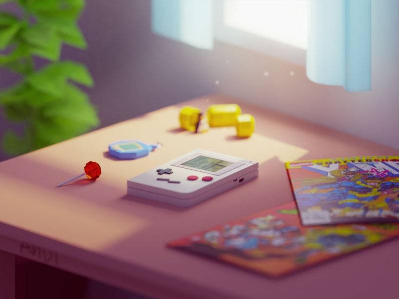 Childhood in a picture kinder tamagochi retro vintage old gameboy comics 90s b3d blender isometric low poly