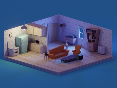 Vintage living room props furniture sofa living room vintage illustration b3d blender render isometric low poly