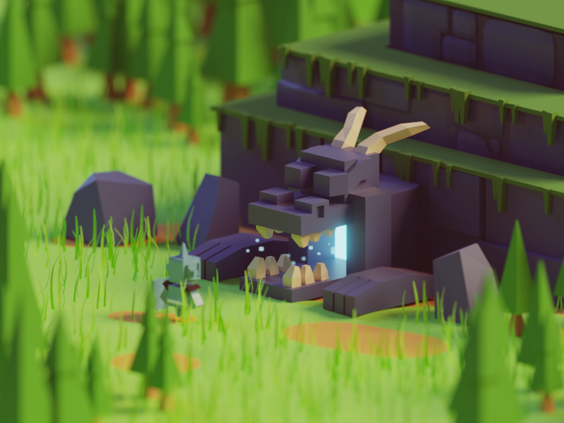 Dungeon Hunting battle story knight adventure dungeon dungeon hunter illustration b3d blender render isometric low poly