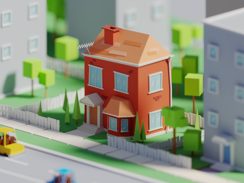 The Old Fashioned neighboorhoood old fashioned old street house illustration b3d blender render isometric low poly