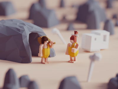The good old days old days early man caveman cave illustration b3d blender render isometric low poly