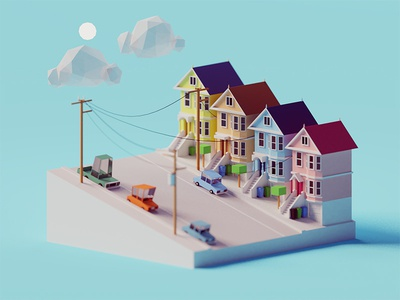 SF scene san francisco buildings architecture usa sf illustration b3d blender render isometric low poly