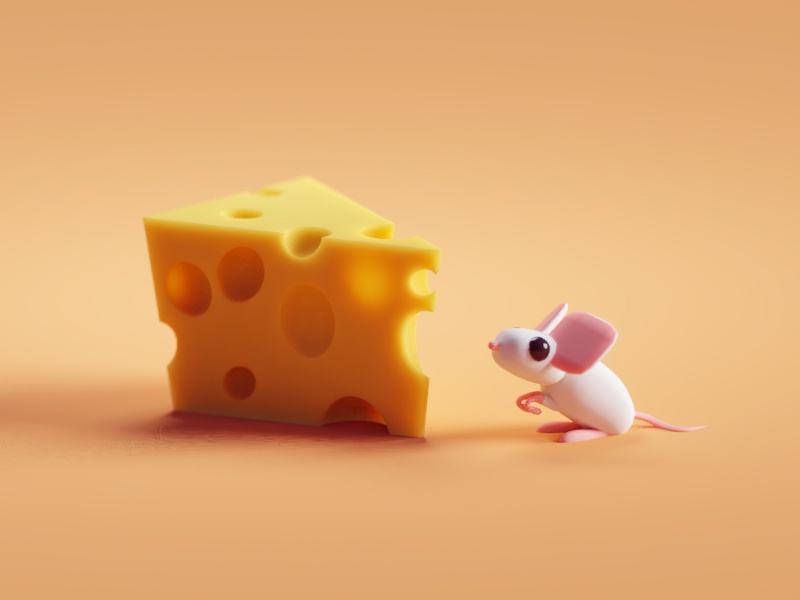 Cheesy subsurface scattering sss mouse cheese illustration b3d blender render isometric low poly