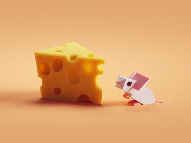 Cheesy (super low poly version) subsurface scattering sss mouse cheese illustration b3d blender render isometric low poly