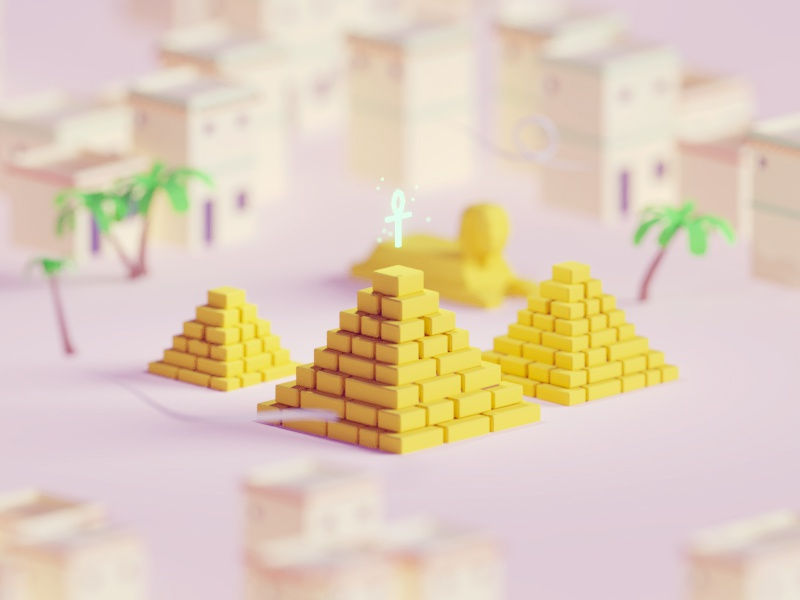 Low poly pyramids pharaos pyramids egypt illustration b3d blender render isometric low poly