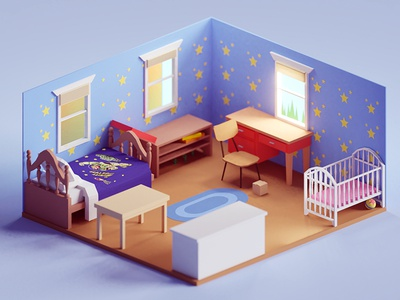 Andy's room toy story buzz andy pixar illustration b3d blender render isometric low poly