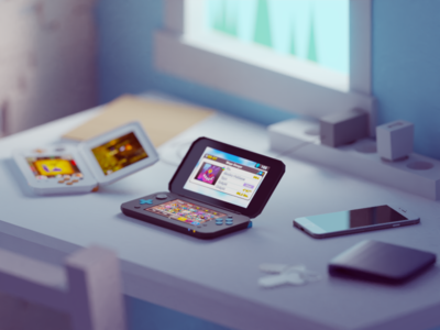 The one without the 3D console gaming 2ds nintendo illustration b3d blender render isometric low poly