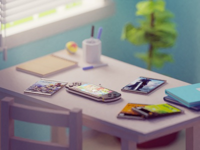 The one with all the UMDs gaming console sony playstation psp illustration b3d blender render isometric low poly