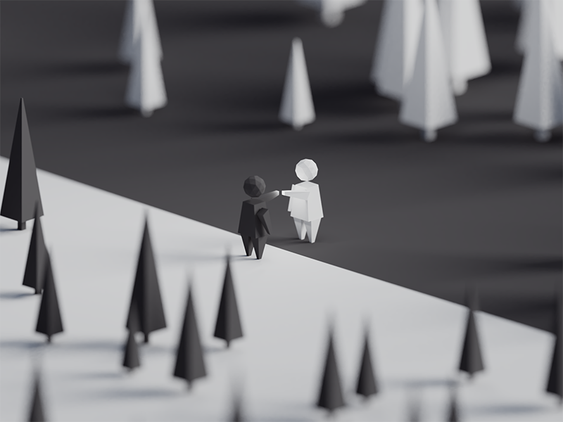 Opposites (WIP) yin yang contrast illustration b3d blender render isometric low poly