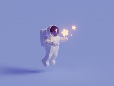 Stars astronaut space star illustration b3d blender render isometric low poly