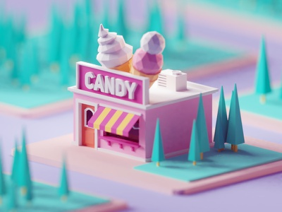 Candy  Shop building miniature shop candy illustration b3d blender render isometric low poly