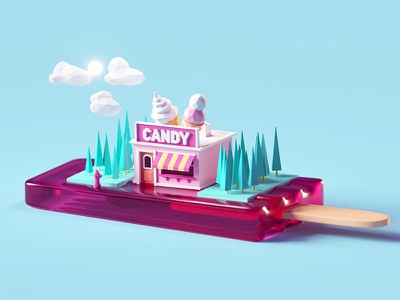 Candy Shop (Popsicle version) popsicle building miniature shop candy illustration b3d blender render isometric low poly