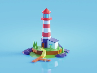 Low poly Lighthouse textures pbr lighthouse illustration b3d blender render isometric low poly