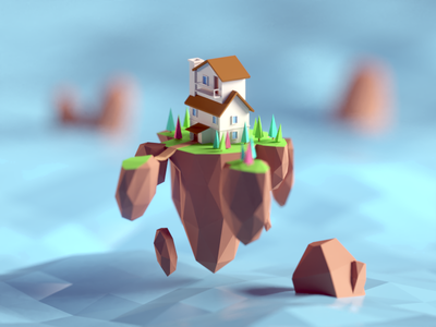 Low Poly Floating Island house flying floating island illustration b3d blender render isometric low poly