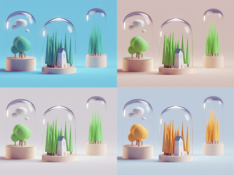 Quick Color Study home building contained glass illustration b3d blender render isometric low poly