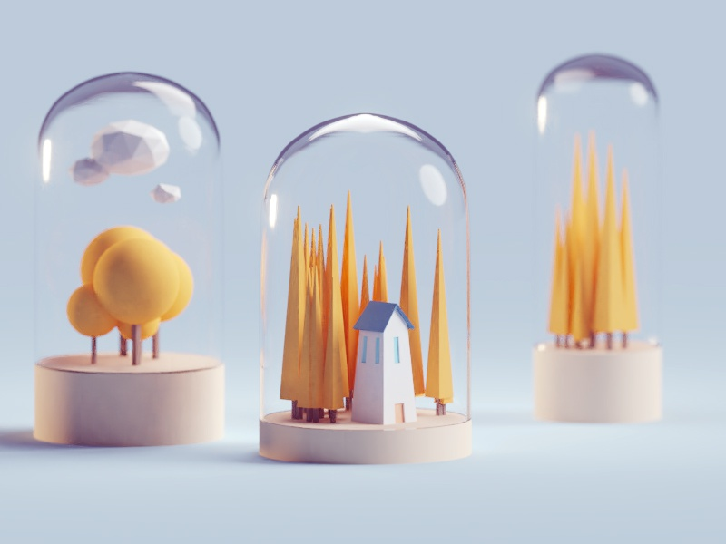 Random render home building contained glass illustration b3d blender render isometric low poly