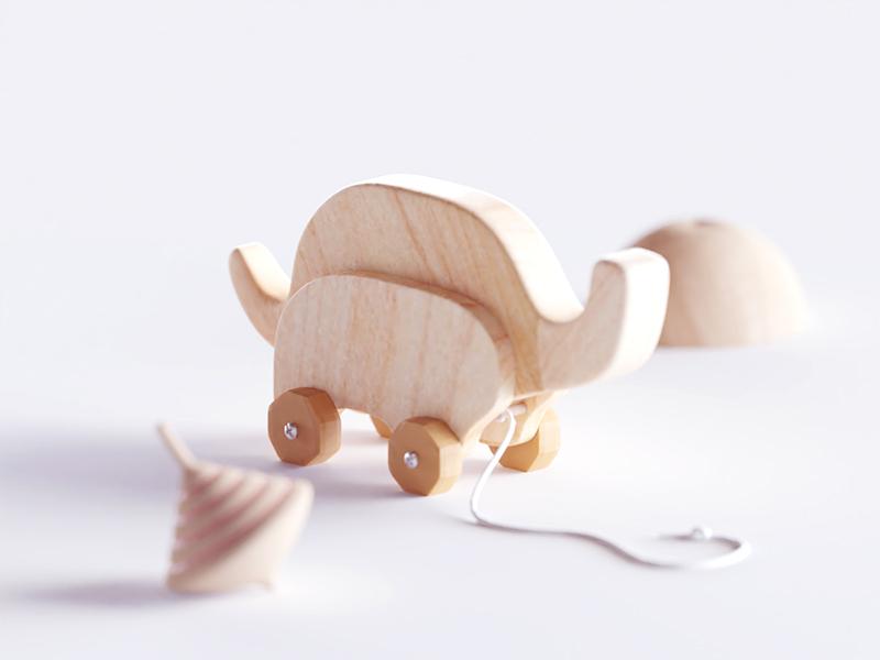 Wooden Elephant elephant toys wooden wood illustration b3d blender render isometric low poly