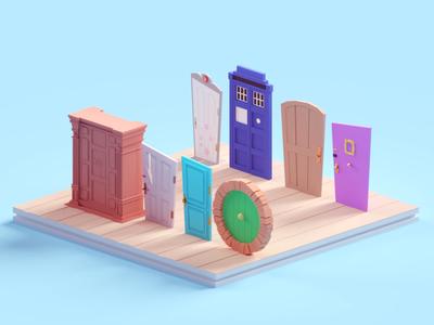 Doors shining monstersinc friends doors illustration b3d blender render isometric low poly