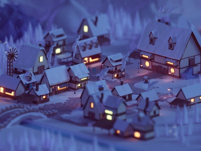 Low poly fantasy village game lights glow snow town village 3d render blender isometric lowpoly